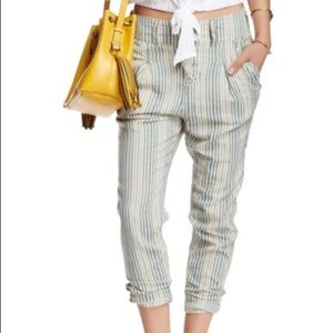 Free People Cream and Teal striped beach trousers